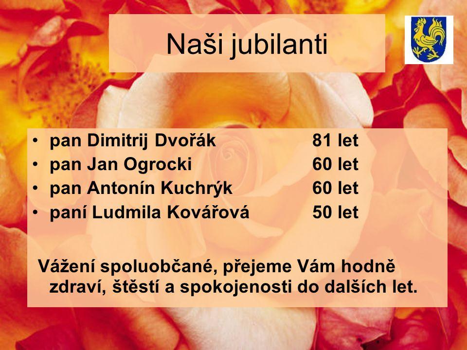 Naši jubilanti pan Dimitrij Dvořák81 let pan Jan Ogrocki60 let pan Antonín Kuchrýk60 let paní Ludmila Kovářová50 let Vážení spoluobčané, přejeme Vám hodně zdraví, štěstí a spokojenosti do dalších let.