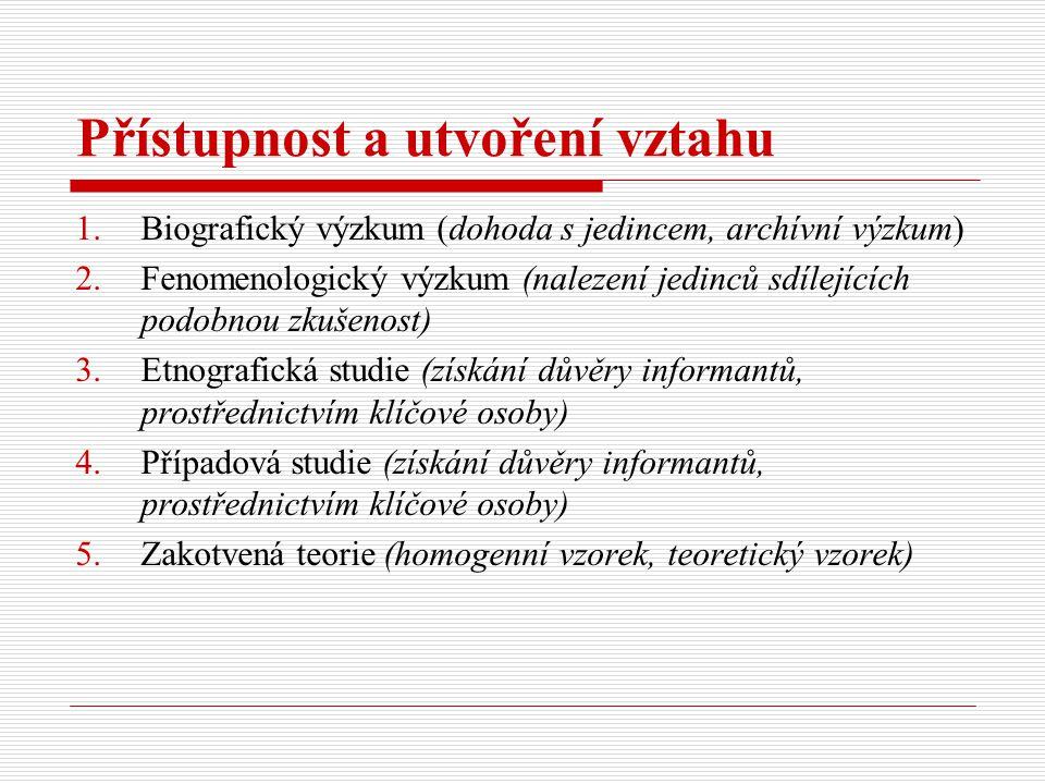 Přístupnost a utvoření vztahu 1.Biografický výzkum (dohoda s jedincem, archívní výzkum) 2.Fenomenologický výzkum (nalezení jedinců sdílejících podobnou zkušenost) 3.Etnografická studie (získání důvěry informantů, prostřednictvím klíčové osoby) 4.Případová studie (získání důvěry informantů, prostřednictvím klíčové osoby) 5.Zakotvená teorie (homogenní vzorek, teoretický vzorek)