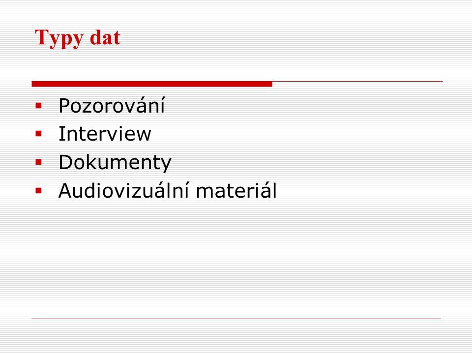 Typy dat  Pozorování  Interview  Dokumenty  Audiovizuální materiál