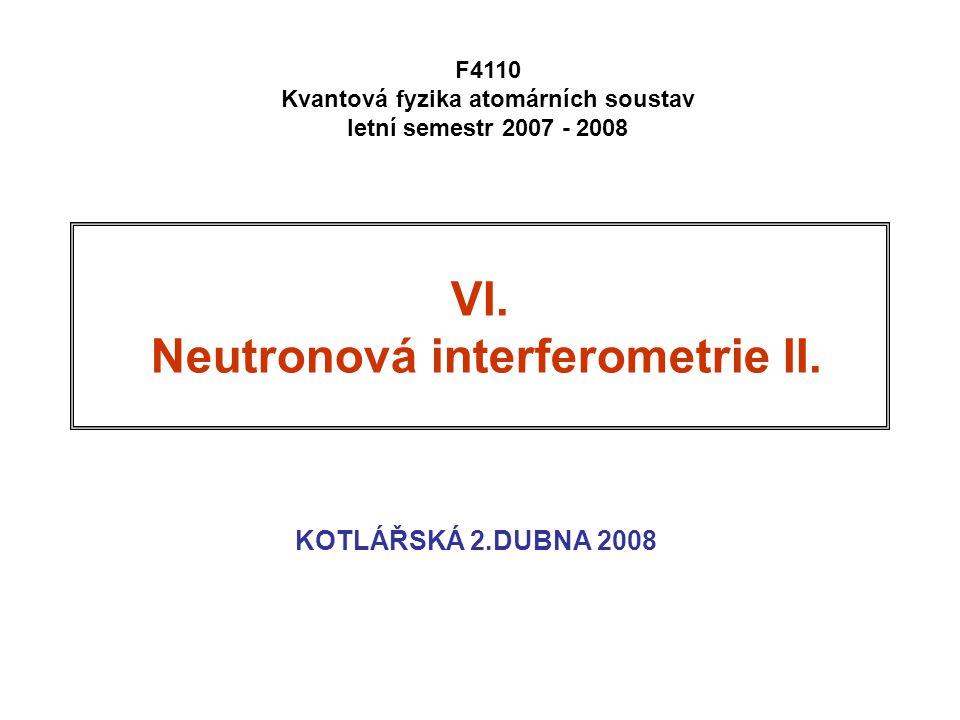 32 Intensita na výstupu interferometru II: stacionární smíšený stav Dopadající svazek není monochromatická vlna.