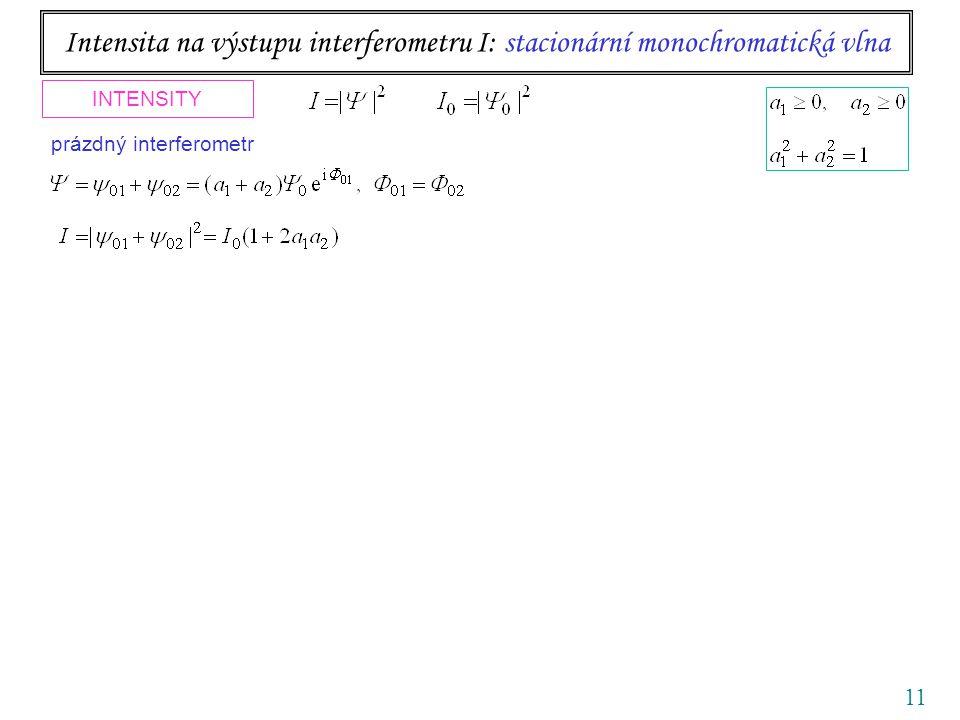 11 Intensita na výstupu interferometru I: stacionární monochromatická vlna INTENSITY interferometr se vzorkem nebo vnějším polem prázdný interferometr kontrast visibility