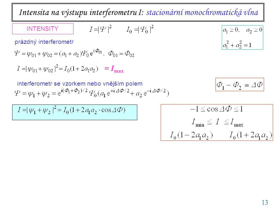 13 Intensita na výstupu interferometru I: stacionární monochromatická vlna INTENSITY interferometr se vzorkem nebo vnějším polem prázdný interferometr kontrast visibility = I max
