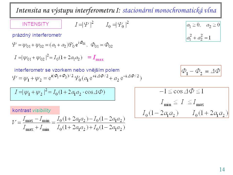 14 Intensita na výstupu interferometru I: stacionární monochromatická vlna INTENSITY interferometr se vzorkem nebo vnějším polem prázdný interferometr kontrast visibility = I max
