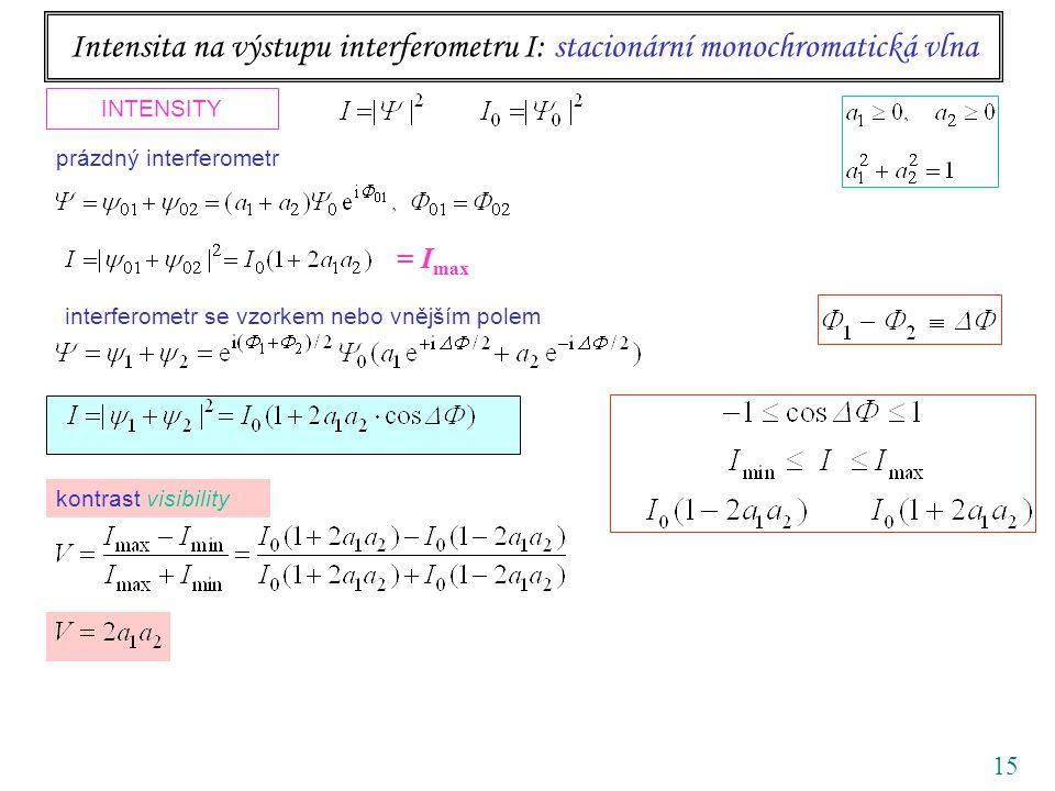15 Intensita na výstupu interferometru I: stacionární monochromatická vlna INTENSITY interferometr se vzorkem nebo vnějším polem prázdný interferometr kontrast visibility = I max