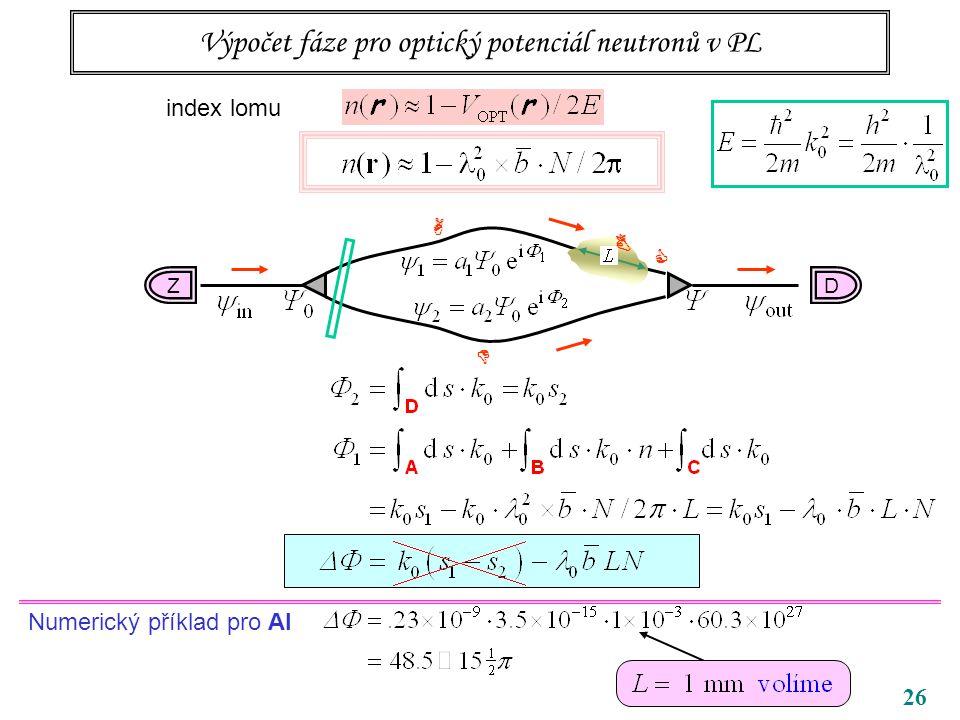 26 Výpočet fáze pro optický potenciál neutronů v PL index lomu DZ C B A D Numerický příklad pro Al