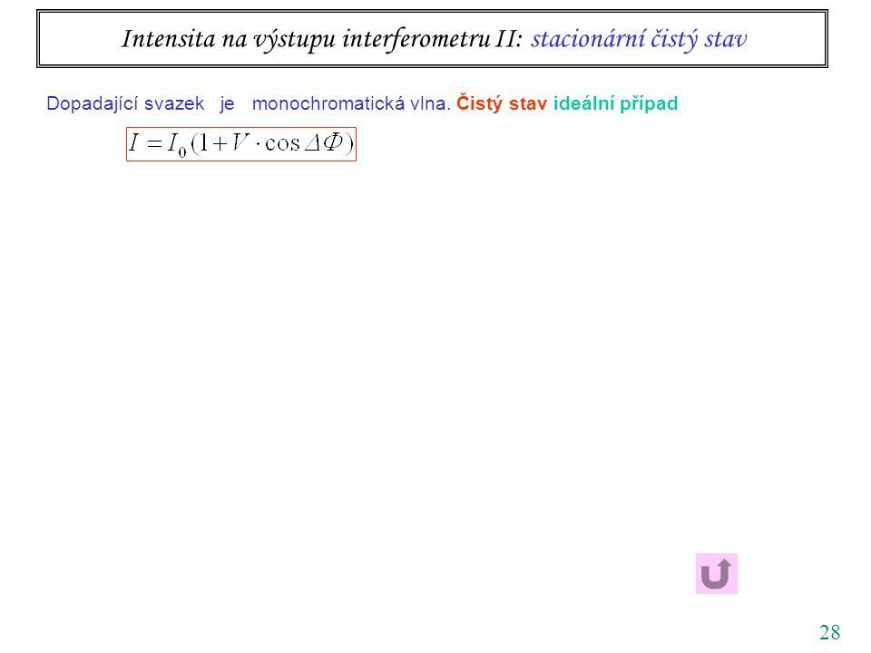 28 Intensita na výstupu interferometru II: stacionární čistý stav Dopadající svazek je monochromatická vlna.