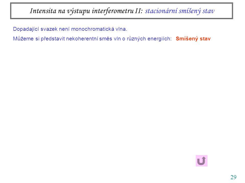 29 Intensita na výstupu interferometru II: stacionární smíšený stav Dopadající svazek není monochromatická vlna.