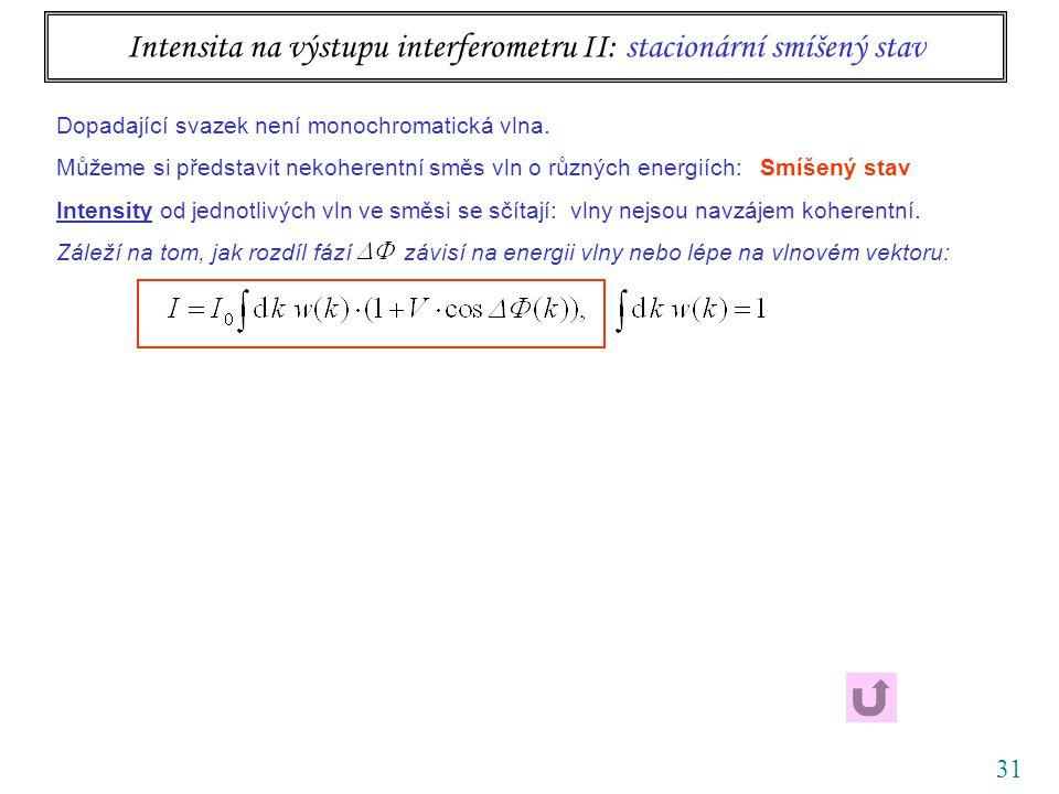 31 Intensita na výstupu interferometru II: stacionární smíšený stav Dopadající svazek není monochromatická vlna.
