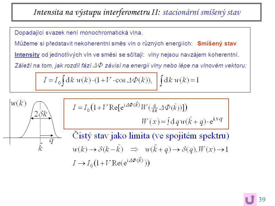 39 Intensita na výstupu interferometru II: stacionární smíšený stav Dopadající svazek není monochromatická vlna.