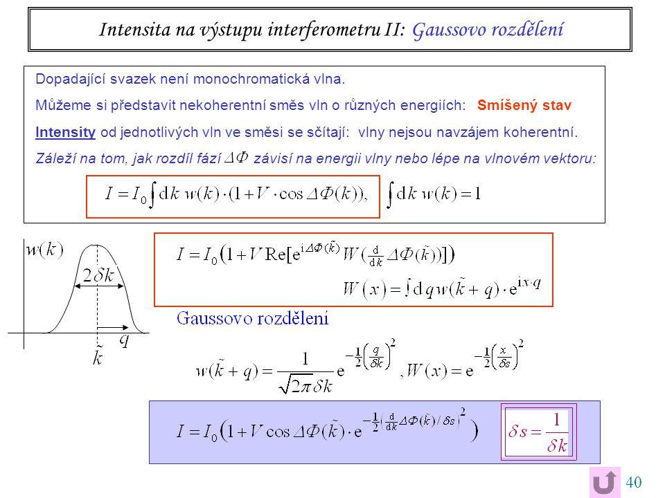 40 Intensita na výstupu interferometru II: Gaussovo rozdělení Dopadající svazek není monochromatická vlna.