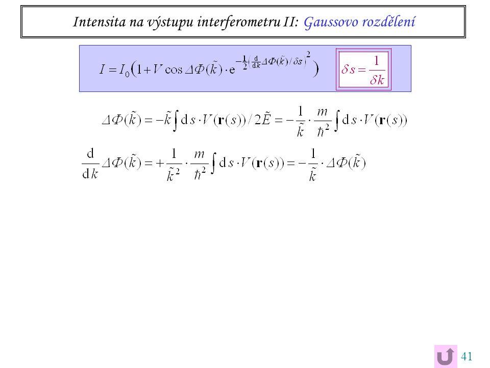 41 Intensita na výstupu interferometru II: Gaussovo rozdělení