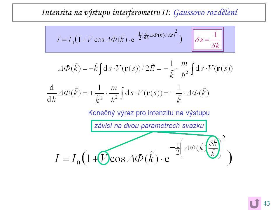 43 Konečný výraz pro intenzitu na výstupu závisí na dvou parametrech svazku Intensita na výstupu interferometru II: Gaussovo rozdělení