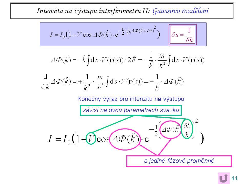44 Konečný výraz pro intenzitu na výstupu závisí na dvou parametrech svazku Intensita na výstupu interferometru II: Gaussovo rozdělení a jediné fázové proměnné