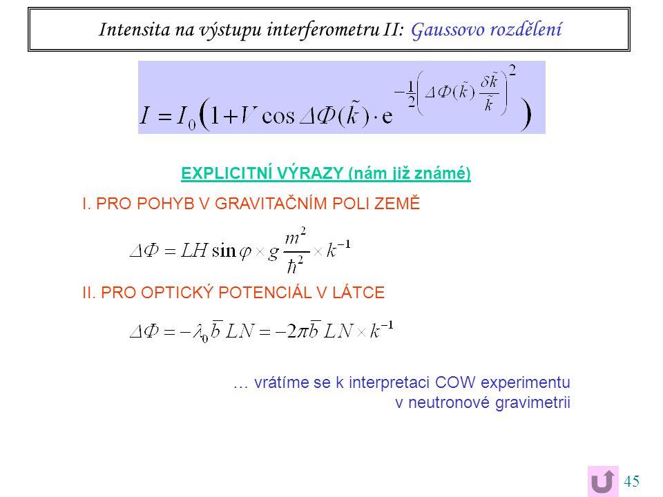 45 Intensita na výstupu interferometru II: Gaussovo rozdělení EXPLICITNÍ VÝRAZY (nám již známé) I.