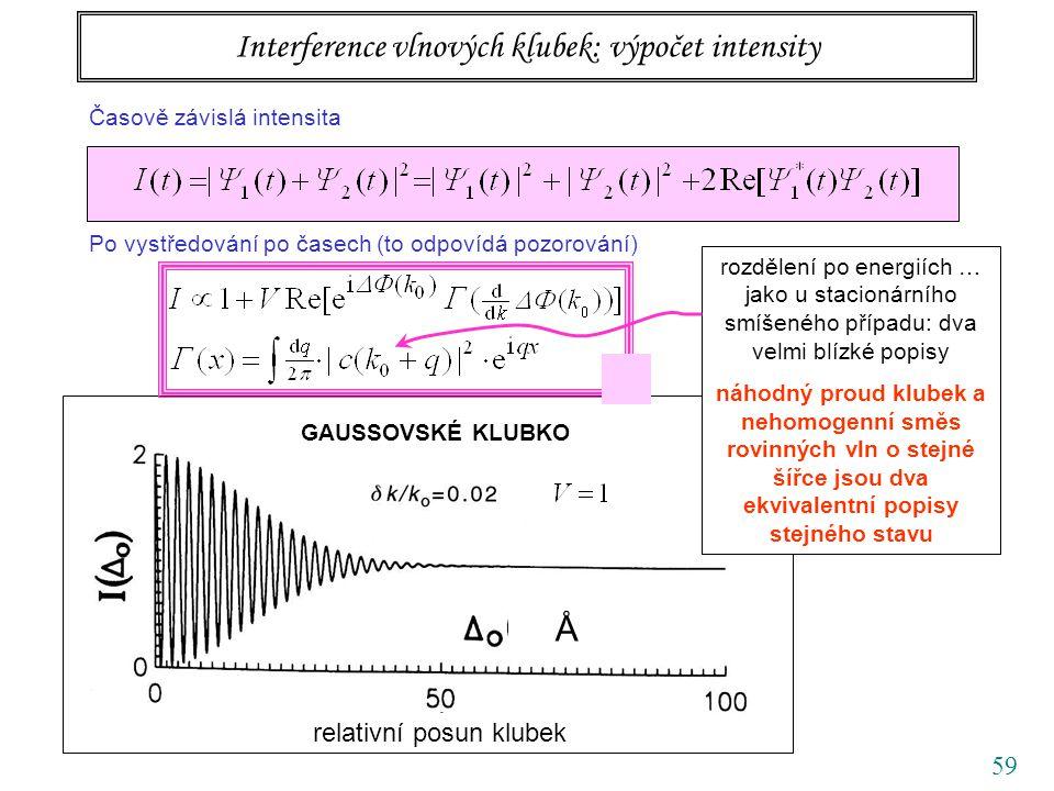 59 relativní posun klubek Å GAUSSOVSKÉ KLUBKO Interference vlnových klubek: výpočet intensity Časově závislá intensita Po vystředování po časech (to odpovídá pozorování) rozdělení po energiích … jako u stacionárního smíšeného případu: dva velmi blízké popisy náhodný proud klubek a nehomogenní směs rovinných vln o stejné šířce jsou dva ekvivalentní popisy stejného stavu