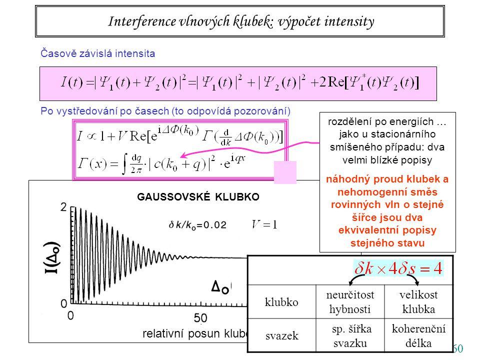 60 relativní posun klubek Å GAUSSOVSKÉ KLUBKO Interference vlnových klubek: výpočet intensity Časově závislá intensita Po vystředování po časech (to odpovídá pozorování) rozdělení po energiích … jako u stacionárního smíšeného případu: dva velmi blízké popisy náhodný proud klubek a nehomogenní směs rovinných vln o stejné šířce jsou dva ekvivalentní popisy stejného stavu Å klubko neurčitost hybnosti velikost klubka svazek sp.