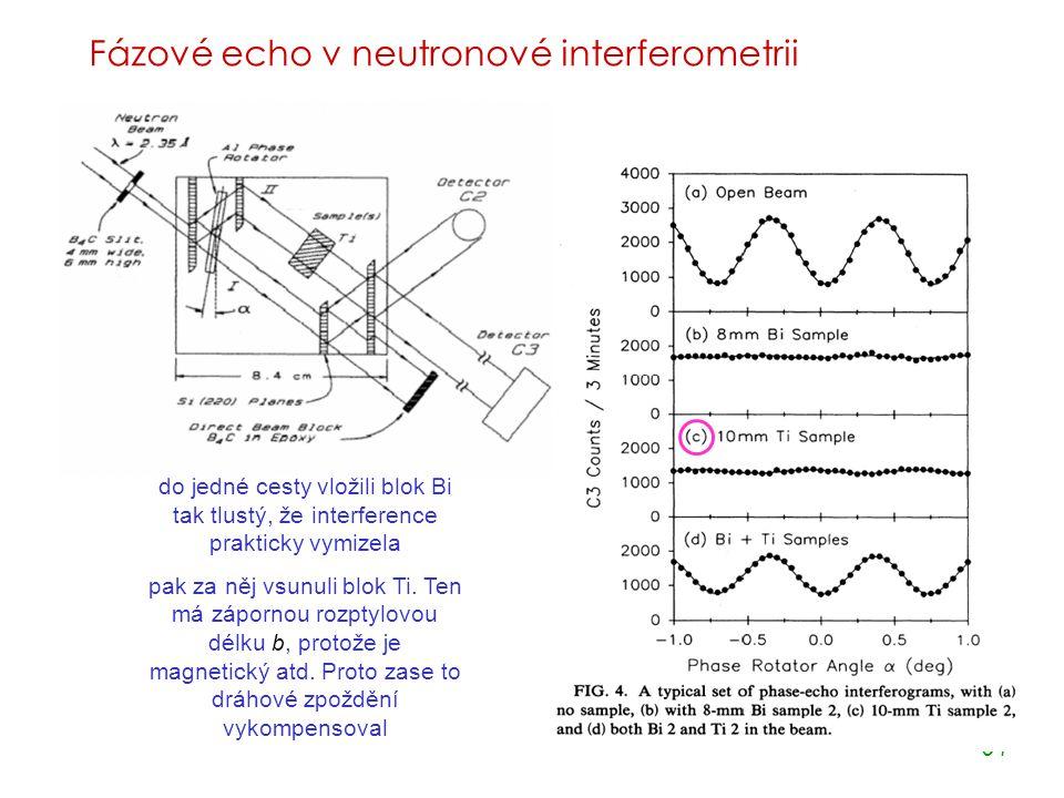 64 Fázové echo v neutronové interferometrii ZÁKLADNÍ IDEA do jedné cesty vložili blok Bi tak tlustý, že interference prakticky vymizela pak za něj vsunuli blok Ti.