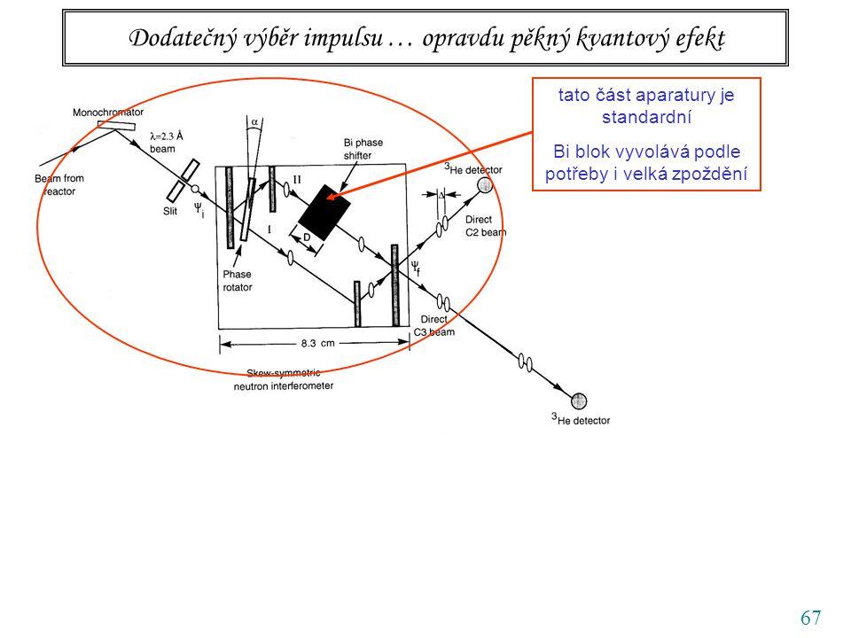 67 Dodatečný výběr impulsu … opravdu pěkný kvantový efekt tato část aparatury je standardní Bi blok vyvolává podle potřeby i velká zpoždění