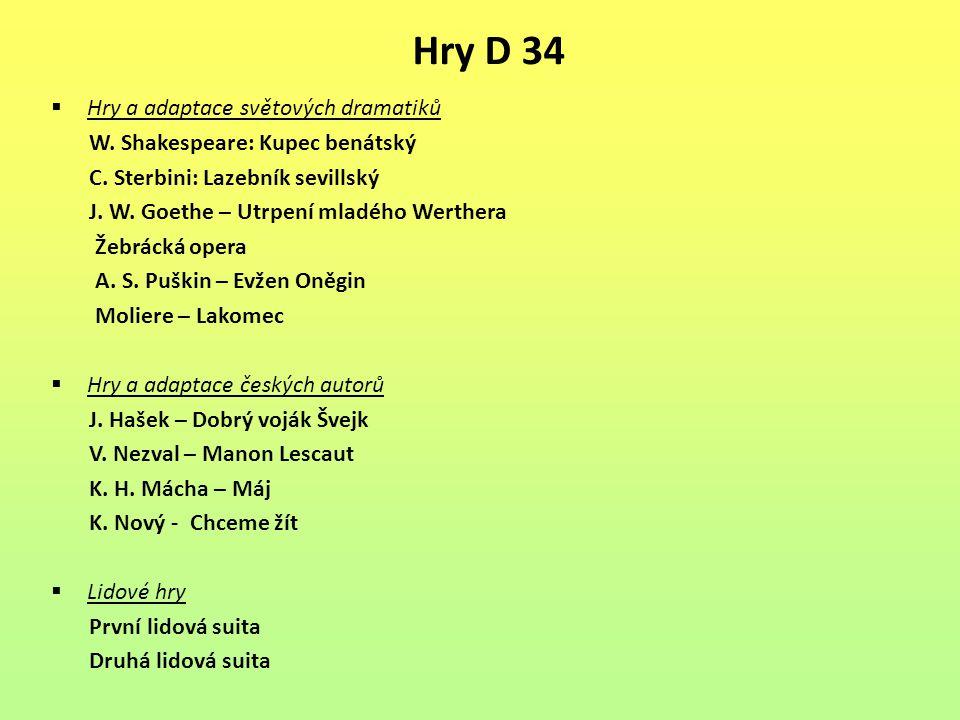 Hry D 34  Hry a adaptace světových dramatiků W. Shakespeare: Kupec benátský C. Sterbini: Lazebník sevillský J. W. Goethe – Utrpení mladého Werthera Ž