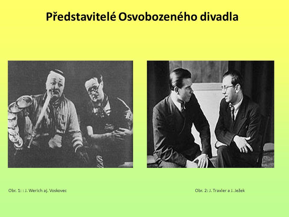 Představitelé Osvobozeného divadla Obr. 1: : J. Werich aj. VoskovecObr. 2: J. Traxler a J. Ježek