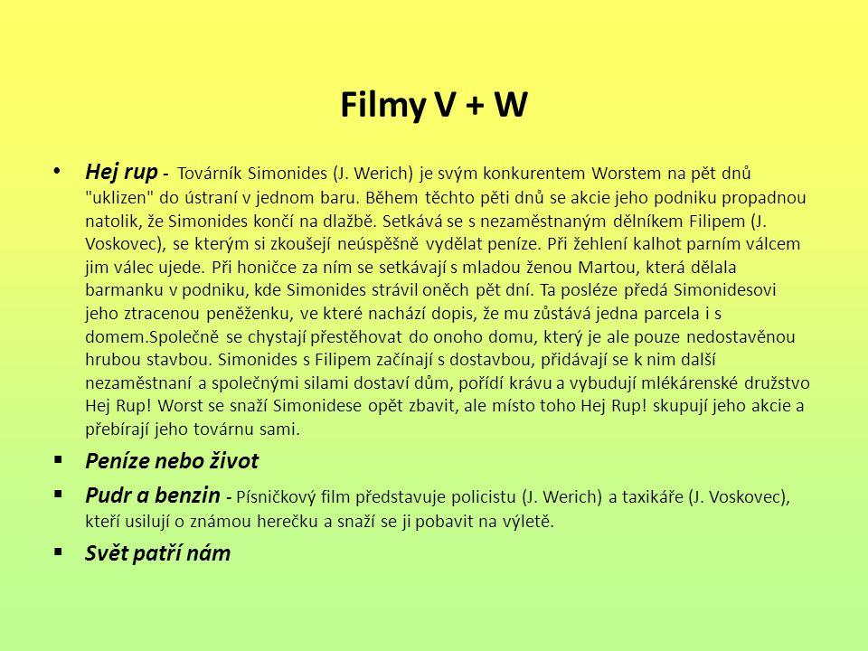 Filmy V + W Hej rup - Továrník Simonides (J. Werich) je svým konkurentem Worstem na pět dnů
