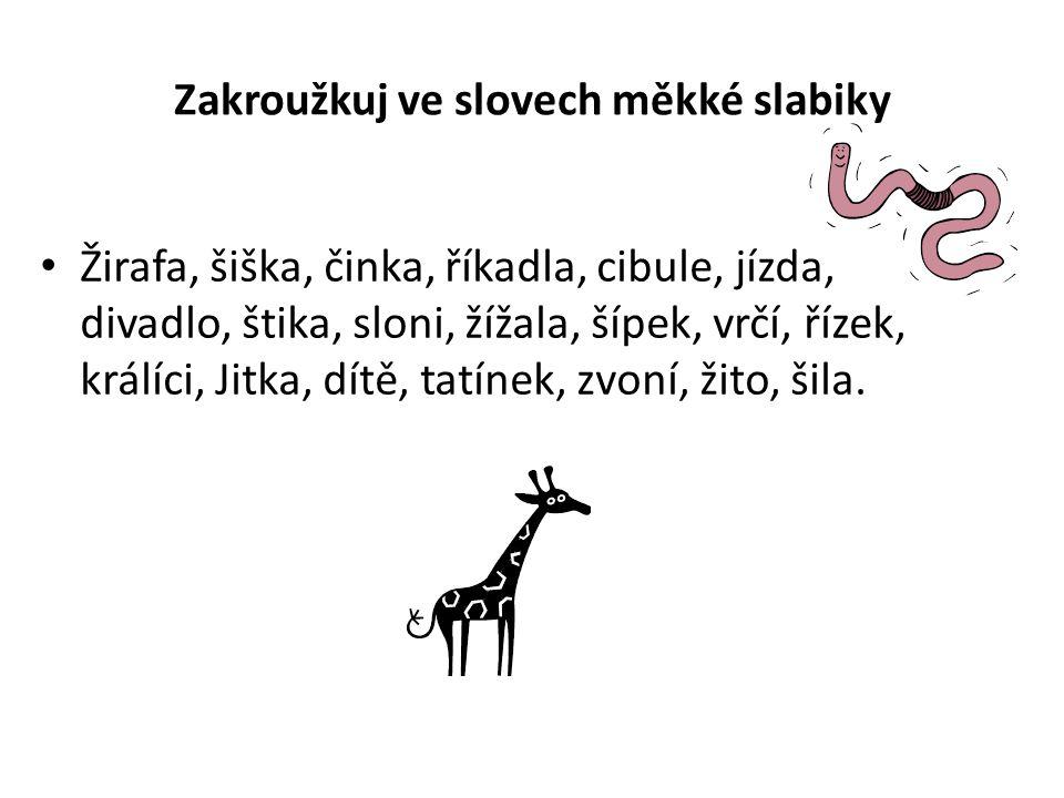 Zakroužkuj ve slovech měkké slabiky Žirafa, šiška, činka, říkadla, cibule, jízda, divadlo, štika, sloni, žížala, šípek, vrčí, řízek, králíci, Jitka, dítě, tatínek, zvoní, žito, šila.