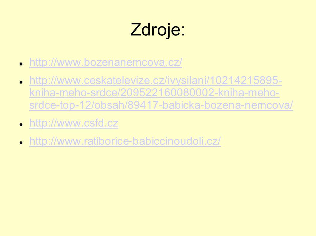 Zdroje: http://www.bozenanemcova.cz/ http://www.ceskatelevize.cz/ivysilani/10214215895- kniha-meho-srdce/209522160080002-kniha-meho- srdce-top-12/obsa