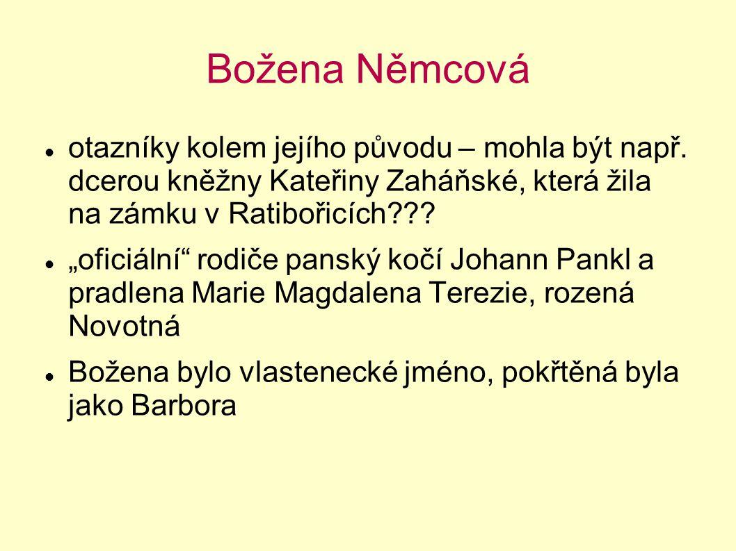 """Božena Němcová otazníky kolem jejího původu – mohla být např. dcerou kněžny Kateřiny Zaháňské, která žila na zámku v Ratibořicích??? """"oficiální"""" rodič"""