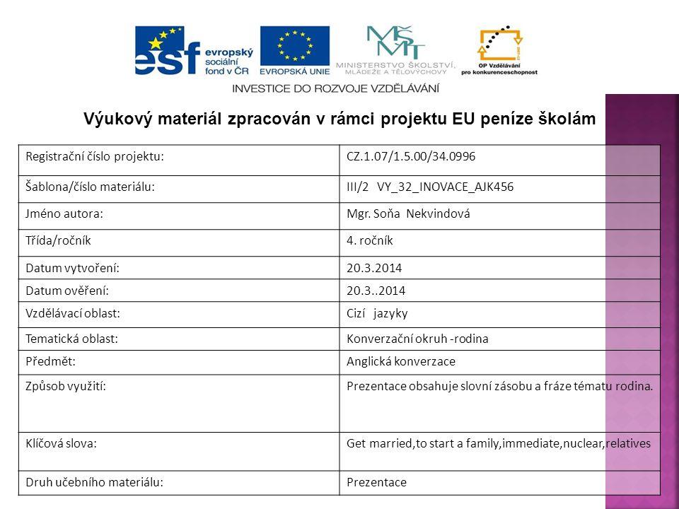 Registrační číslo projektu:CZ.1.07/1.5.00/34.0996 Šablona/číslo materiálu:III/2 VY_32_INOVACE_AJK456 Jméno autora:Mgr. Soňa Nekvindová Třída/ročník4.