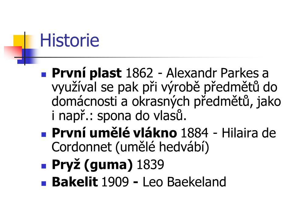 Historie První plast 1862 - Alexandr Parkes a využíval se pak při výrobě předmětů do domácnosti a okrasných předmětů, jako i např.: spona do vlasů. Pr