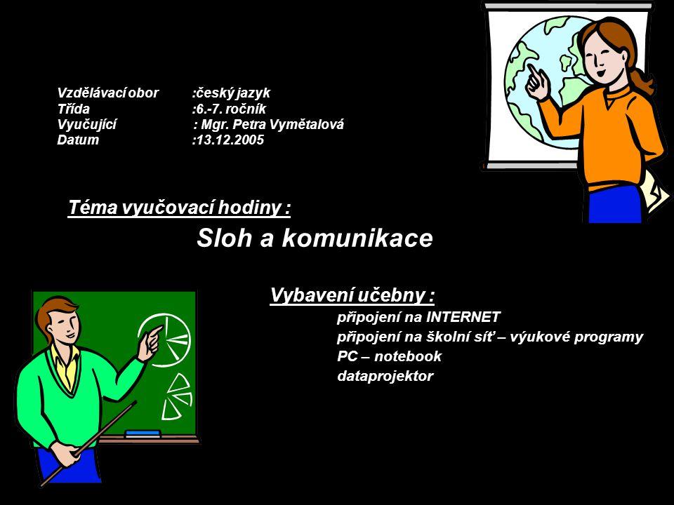 Vzdělávací obor:český jazyk Třída:6.-7. ročník Vyučující : Mgr. Petra Vymětalová Datum:13.12.2005 Téma vyučovací hodiny : Sloh a komunikace Vybavení u