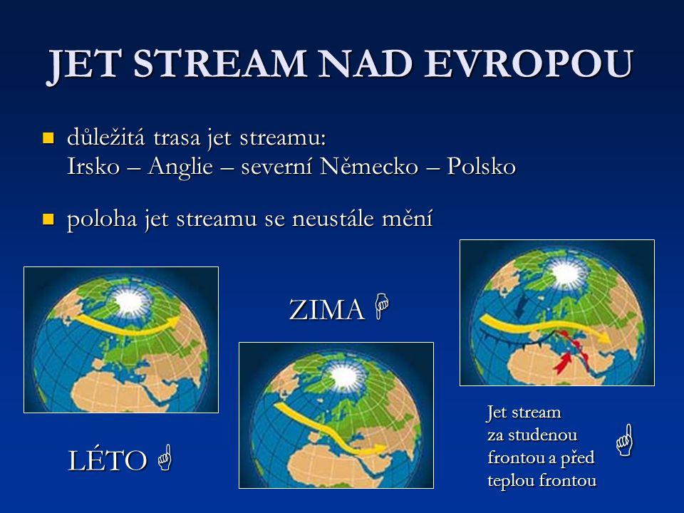 JET STREAM NAD EVROPOU důležitá trasa jet streamu: Irsko – Anglie – severní Německo – Polsko důležitá trasa jet streamu: Irsko – Anglie – severní Něme