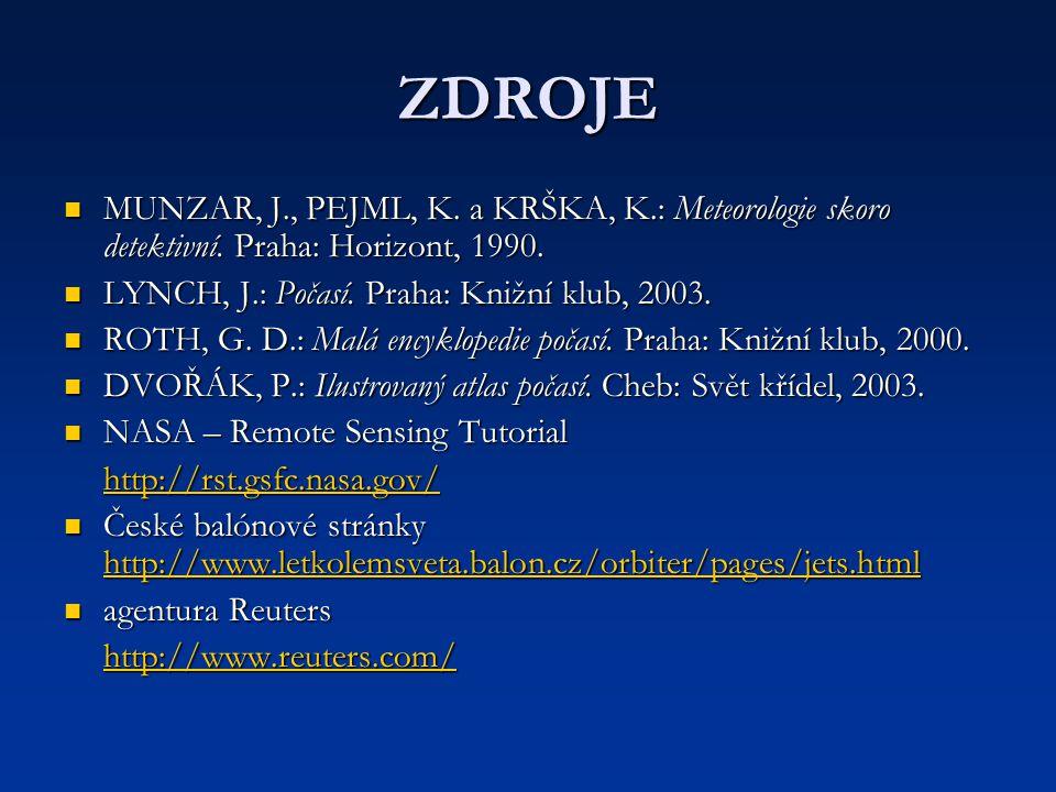 ZDROJE MUNZAR, J., PEJML, K. a KRŠKA, K.: Meteorologie skoro detektivní. Praha: Horizont, 1990. MUNZAR, J., PEJML, K. a KRŠKA, K.: Meteorologie skoro