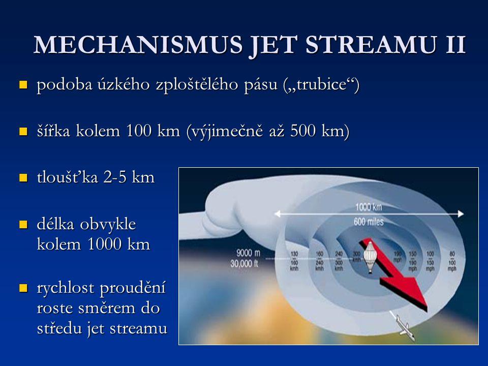 "MECHANISMUS JET STREAMU II podoba úzkého zploštělého pásu (""trubice"") podoba úzkého zploštělého pásu (""trubice"") šířka kolem 100 km (výjimečně až 500"