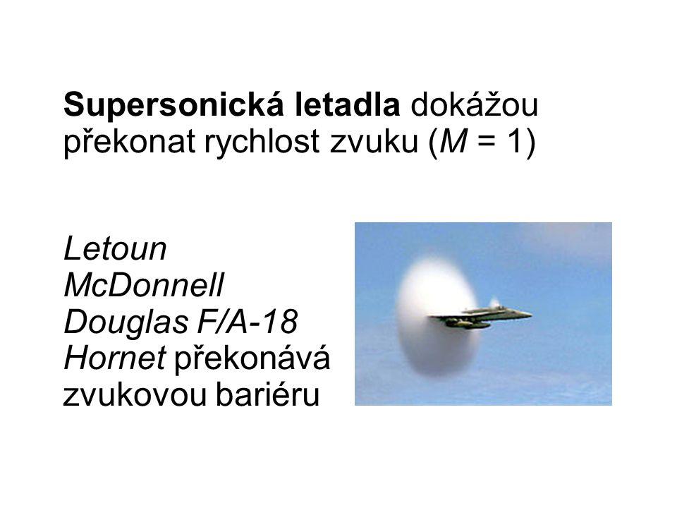 Letoun McDonnell Douglas F/A-18 Hornet překonává zvukovou bariéru Supersonická letadla dokážou překonat rychlost zvuku (M = 1)