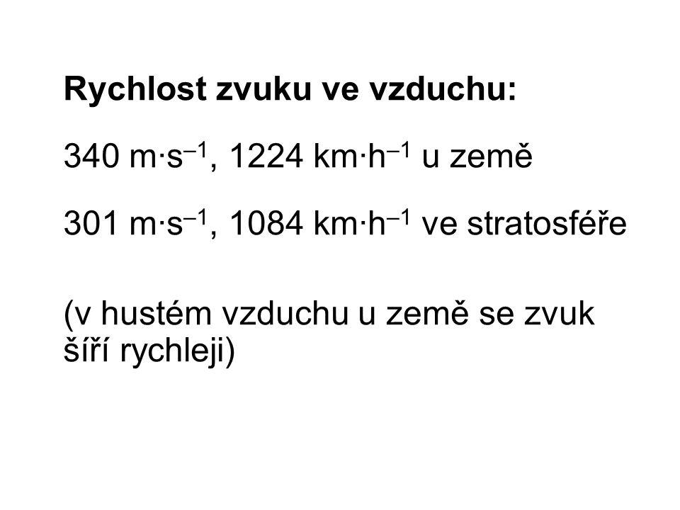 Rychlost zvuku ve vzduchu: 340 m∙s –1, 1224 km∙h –1 u země 301 m∙s –1, 1084 km∙h –1 ve stratosféře (v hustém vzduchu u země se zvuk šíří rychleji)