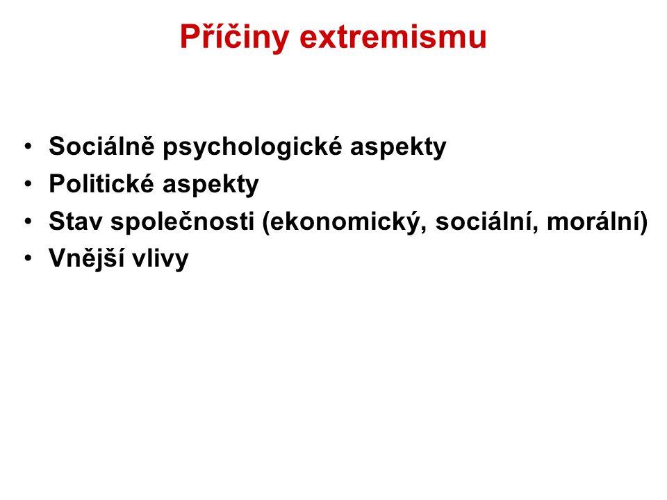 Shrnutí Extremismus: Ideologie (ideový základ) a z ní vyplývající postoje a aktivity. Usiluje o změnu společenského (politického) uspořádání, je nepřá