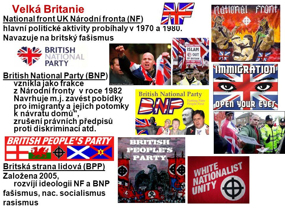 Francie Front National, FN (Národní fronta) Francouzská nacionalistická, ultrapravicová strana - vznik 1972 zakladatel Jean Marie Le Pen (*1928) (odso