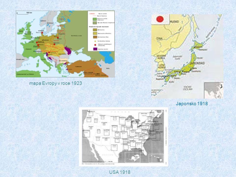 USA 1918 mapa Evropy v roce 1923 Japonsko 1918