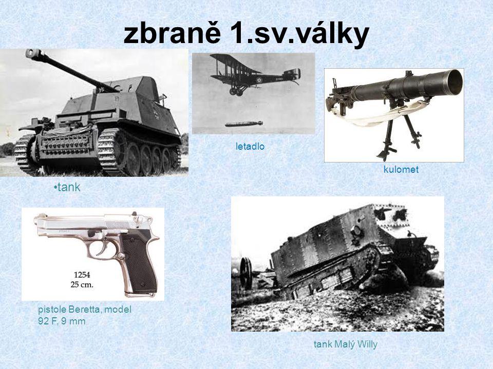 zbraně 1.sv.války tank letadlo kulomet pistole Beretta, model 92 F, 9 mm tank Malý Willy