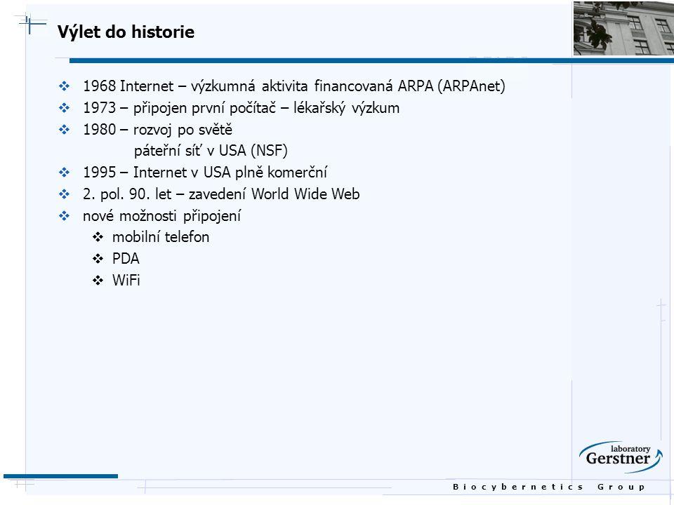 B i o c y b e r n e t i c s G r o u p Výlet do historie  1968 Internet – výzkumná aktivita financovaná ARPA (ARPAnet)  1973 – připojen první počítač