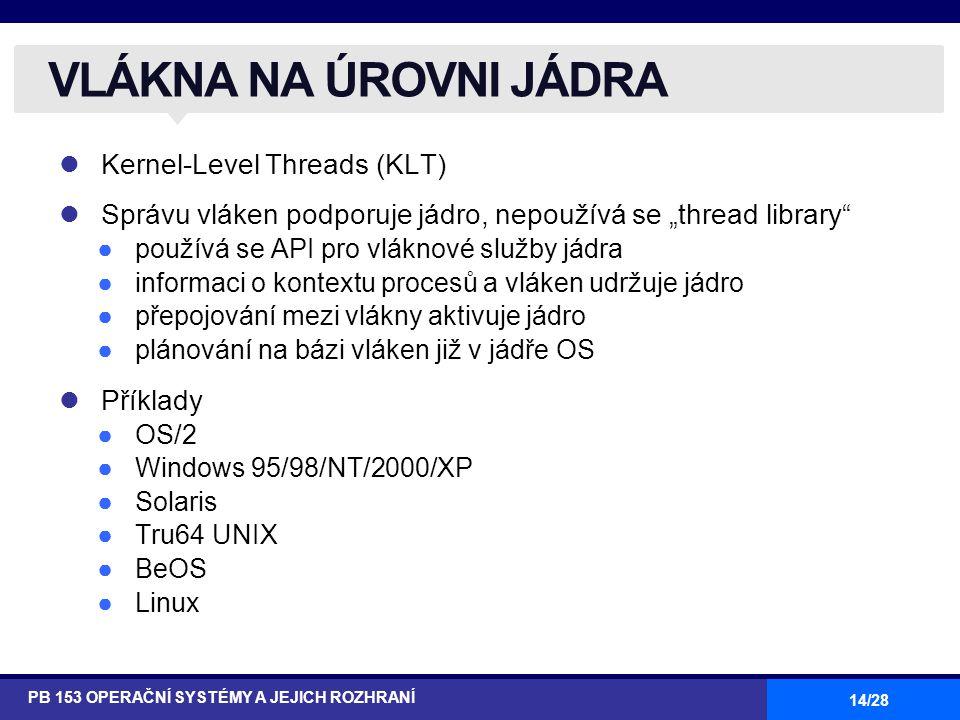 """14/28 Kernel-Level Threads (KLT) Správu vláken podporuje jádro, nepoužívá se """"thread library ●používá se API pro vláknové služby jádra ●informaci o kontextu procesů a vláken udržuje jádro ●přepojování mezi vlákny aktivuje jádro ●plánování na bázi vláken již v jádře OS Příklady ●OS/2 ●Windows 95/98/NT/2000/XP ●Solaris ●Tru64 UNIX ●BeOS ●Linux VLÁKNA NA ÚROVNI JÁDRA PB 153 OPERAČNÍ SYSTÉMY A JEJICH ROZHRANÍ"""