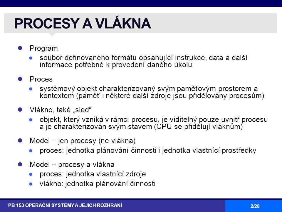 2/28 Program ●soubor definovaného formátu obsahující instrukce, data a další informace potřebné k provedení daného úkolu Proces ●systémový objekt char