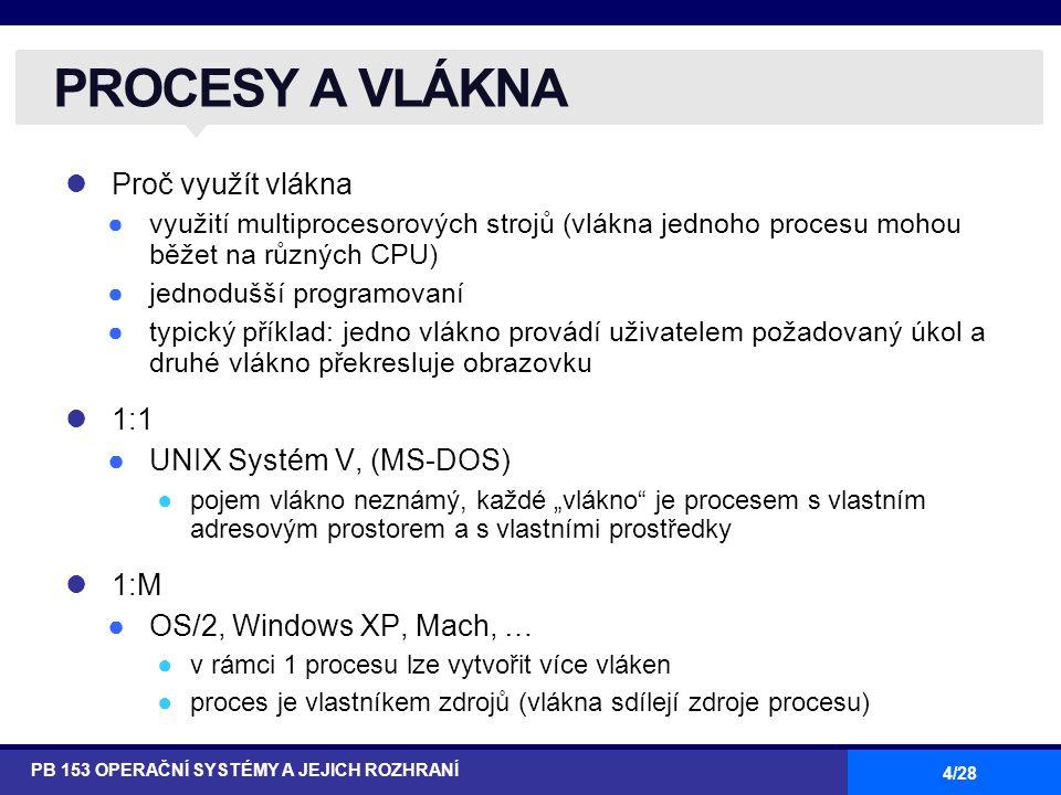 """4/28 Proč využít vlákna ●využití multiprocesorových strojů (vlákna jednoho procesu mohou běžet na různých CPU) ●jednodušší programovaní ●typický příklad: jedno vlákno provádí uživatelem požadovaný úkol a druhé vlákno překresluje obrazovku 1:1 ●UNIX Systém V, (MS-DOS) ●pojem vlákno neznámý, každé """"vlákno je procesem s vlastním adresovým prostorem a s vlastními prostředky 1:M ●OS/2, Windows XP, Mach, … ●v rámci 1 procesu lze vytvořit více vláken ●proces je vlastníkem zdrojů (vlákna sdílejí zdroje procesu) PROCESY A VLÁKNA PB 153 OPERAČNÍ SYSTÉMY A JEJICH ROZHRANÍ"""