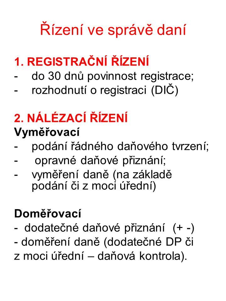 Řízení ve správě daní 1. REGISTRAČNÍ ŘÍZENÍ -do 30 dnů povinnost registrace; -rozhodnutí o registraci (DIČ) 2. NÁLÉZACÍ ŘÍZENÍ Vyměřovací -podání řádn