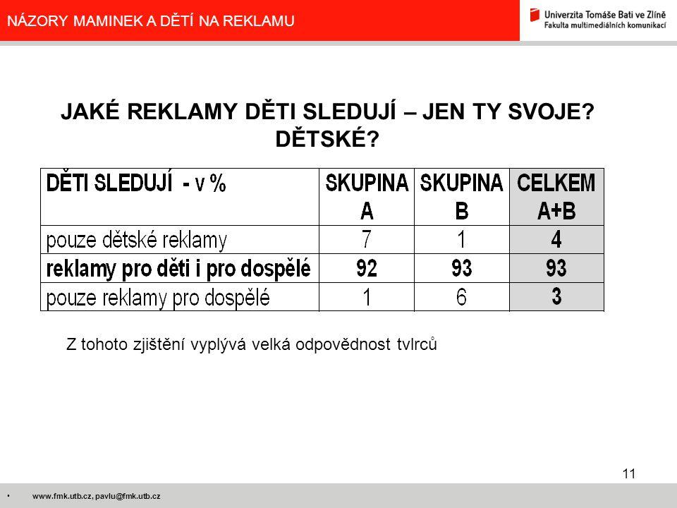 11 www.fmk.utb.cz, pavlu@fmk.utb.cz NÁZORY MAMINEK A DĚTÍ NA REKLAMU JAKÉ REKLAMY DĚTI SLEDUJÍ – JEN TY SVOJE? DĚTSKÉ? Z tohoto zjištění vyplývá velká