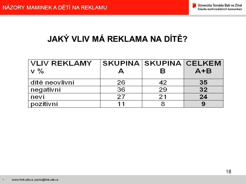 16 www.fmk.utb.cz, pavlu@fmk.utb.cz NÁZORY MAMINEK A DĚTÍ NA REKLAMU JAKÝ VLIV MÁ REKLAMA NA DÍTĚ?