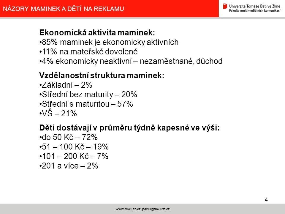 4 www.fmk.utb.cz, pavlu@fmk.utb.cz NÁZORY MAMINEK A DĚTÍ NA REKLAMU Ekonomická aktivita maminek: 85% maminek je ekonomicky aktivních 11% na mateřské dovolené 4% ekonomicky neaktivní – nezaměstnané, důchod Vzdělanostní struktura maminek: Základní – 2% Střední bez maturity – 20% Střední s maturitou – 57% VŠ – 21% Děti dostávají v průměru týdně kapesné ve výši: do 50 Kč – 72% 51 – 100 Kč – 19% 101 – 200 Kč – 7% 201 a více – 2%