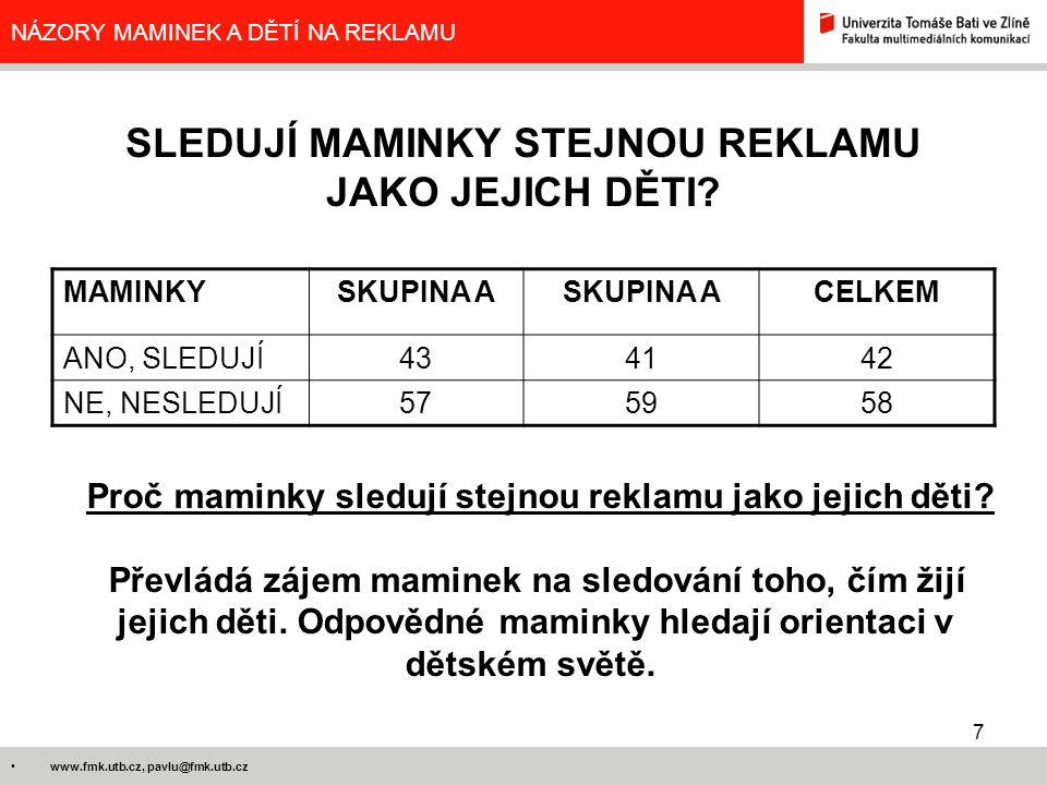 7 www.fmk.utb.cz, pavlu@fmk.utb.cz NÁZORY MAMINEK A DĚTÍ NA REKLAMU SLEDUJÍ MAMINKY STEJNOU REKLAMU JAKO JEJICH DĚTI? MAMINKYSKUPINA A CELKEM ANO, SLE