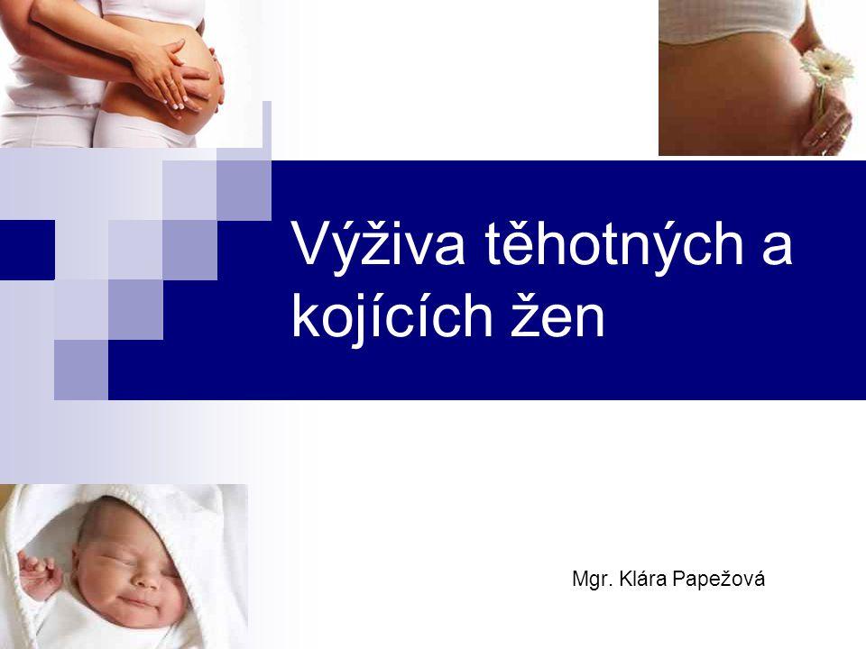 Správná výživa 1) V těhotenství minimalizace vrozených vývojových vad správná tělesná hmotnost novorozence fyzický a mentální vývoj prevence alergií a mnohých onemocnění přínos i pro maminku (prevence vzniku zdravotních problémů, správná hmotnost maminky) 2) V období kojení z mateřského mléka čerpá všechny živiny budování imunitního systému miminka zabraňuje vzniku alergií a onemocnění Těhotenství a kojení klade zvýšené nároky na spotřebu energie a živin